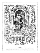 Frontispiece to Punch, Vol XXV (Mr Punch giving out copies of the latest volume of Punch to various dignitaries and celebrities)