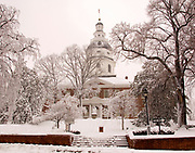 Annapolis, Maryland State House following blizzard