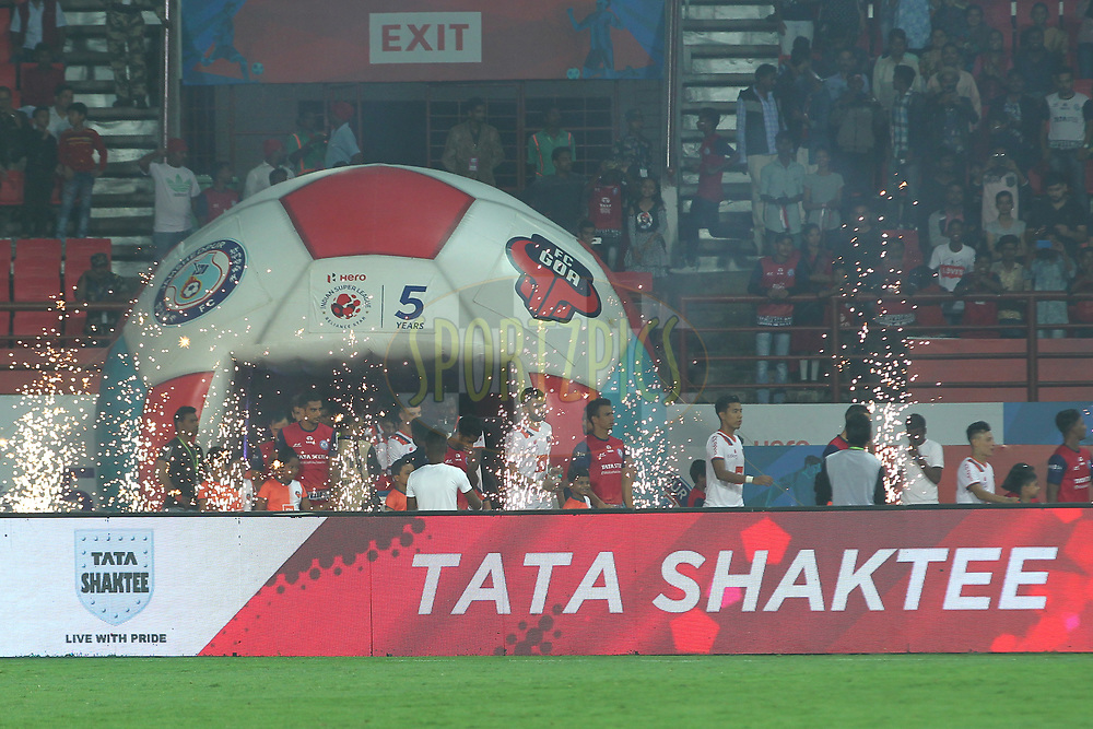 Players entering on the field with children escorts during match 25 of the Hero Indian Super League 2018 ( ISL ) between Jamshedpur FC and FC Goa held at JRD Tata Sports Complex, Jamshedpur, India on the 1st November  2018<br /> <br /> Photo by: Deepak Malik /SPORTZPICS for ISL