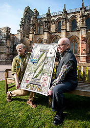 A copy of the Rosslyn panel that was stolen from the Great Tapestry of Scotland has been presented to the trustees after the original stitching team recreated their original. Pictured with the replacement outside Rosslyn Chapel are Co-ordinator Dorie Wilkie and artist Andrew Crummy.<br /> <br /> © Dave Johnston/ EEm