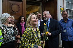 London, UK. 31 January, 2020. Pro-EU activists are greeted by representatives of the European Commission at Europe House following a procession from Downing Street on the occasion of Brexit Day.