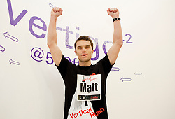 © under license to London News Pictures. 03/03/11. Celebrity personal trainer, Matt Roberts, celebrates after completing the 2011 Tower 42 Vertical Rush for Shelter.  1000 runners took part in the Vertical Rush event, held by Shelter to raise money to  help homeless and badly housed families across the UK. Credit should read Matt Cetti-Roberts/LNP