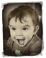 March 10, 2013 - New York, U.S. -  Ryan, a happy baby boy. Sepia