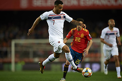 March 23, 2019 - Valencia, Valencia, Spain - Joshua King of Norway controls the ball during the 2020 UEFA European Championships group F qualifying match between Spain and Norway at Estadi de Mestalla on March 23, 2019 in Valencia, Spain. (Credit Image: © Jose Breton/NurPhoto via ZUMA Press)
