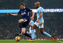 Jan Vertonghen of Tottenham Hotspur takes on Fabian Delph of Manchester City - Mandatory by-line: Matt McNulty/JMP - 16/12/2017 - FOOTBALL - Etihad Stadium - Manchester, England - Manchester City v Tottenham Hotspur - Premier League