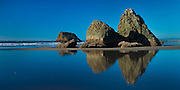 Zen like rock formations on Bandon Beach on the Orgon Coast