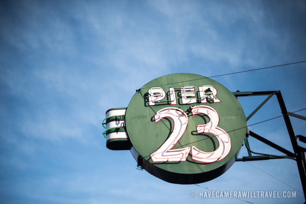 Vintage neon sign for Pier 23 on the Embarcadero on San Francisco's waterfront.