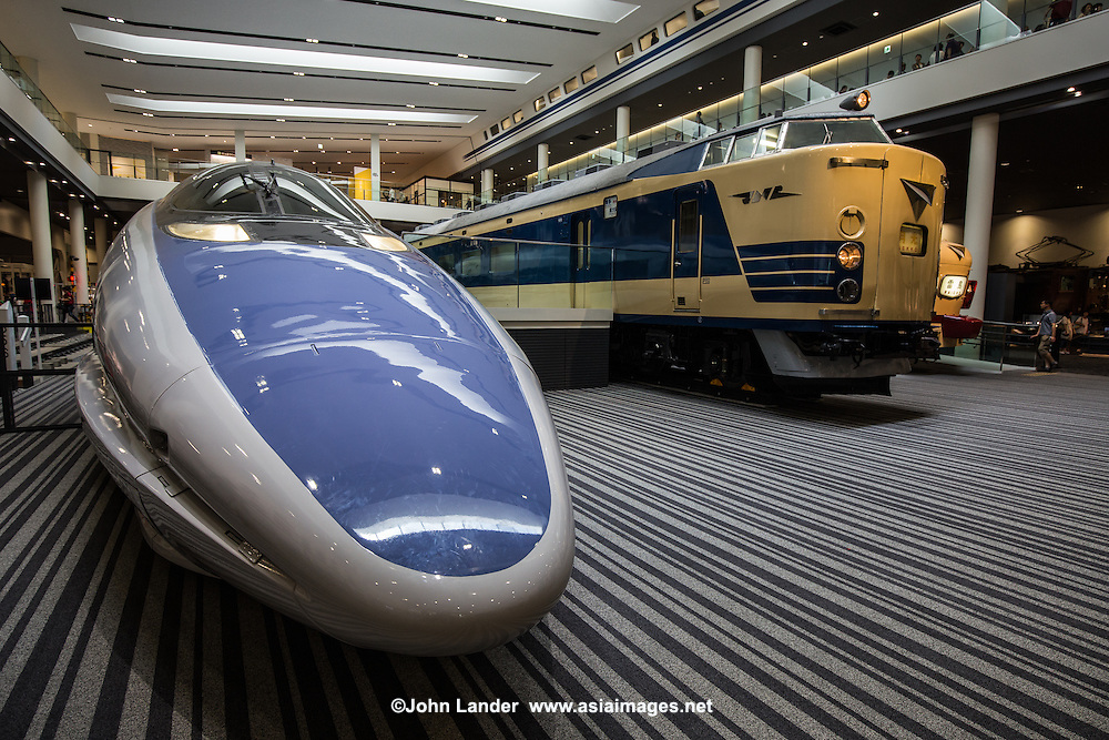 Shinkansen 500 Serie at the Kyoto Railway Museum  - The Shinkansen 500 Series was operated by JR West on the Tokaido Shinkansen Nozomi Express lines.  They ran at 300 kph though were capable of speeds up to 320. The 500 series was retired from JR service in 2010.   The 500 Series of Shinkasen Nozomi was one of the most popular designs, because of its long thin needle shape.