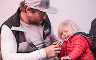 """The Vendee Globe 2016 - 2017<br /> British yachtsman Alex Thomson skipper of the 'Hugo Boss""""  IMOCA Open60. He finished 2nd in the Vendee Globe solo non stop around the world yacht race. Shown here sharing his first meal ashore with his daughter Georgia. He completed the solo non stop around the world race in 74days. 19hours and 35 minutes<br /> <br /> Photo by Lloyd Images"""