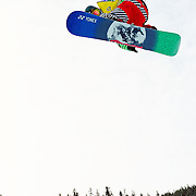 Japanese National Snowboard Team member Ryoh Aono completes a training run before the start of finals at the 2009 LG Snowboard FIS World Cup at Cypress Mountain, British Columbia, on February 16th, 2009. Aono earned the silver medal on the weekend.