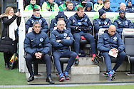 Brighton Manager, Chris Hughton, Brighton Assistant Manager, Paul Trollope, Brighton First Team Coach, Paul Nevin during the EFL Sky Bet Championship match between Brighton and Hove Albion and Burton Albion at the American Express Community Stadium, Brighton and Hove, England on 11 February 2017.