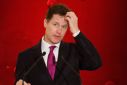 © licensed to London News Pictures. London, UK 10/02/2014. Deputy Prime Minister Nick Clegg gives a speech on the UK economy at Mansion House in London on Monday, 10 February, 2014. Photo credit: Tolga Akmen/LNP