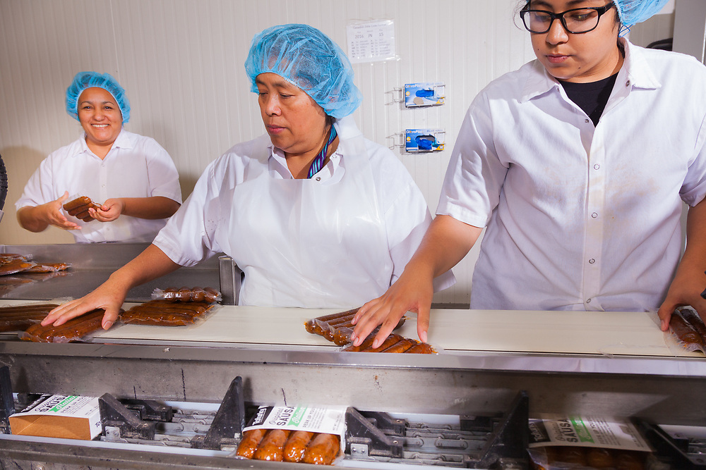 """""""Deli slices"""" processing at Tofurky processing facility  in Hood River, Oregon"""