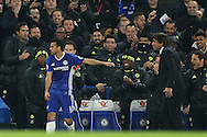 Pedro of Chelsea celebrates towards Antonio Conte, the Chelsea manager and the bench after he scores his teams 1st goal. . Premier league match, Chelsea v Tottenham Hotspur at Stamford Bridge in London on Saturday 26th November 2016.<br /> pic by John Patrick Fletcher, Andrew Orchard sports photography.