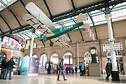 10 February 2017: A full-size model of the aircraft used by the first woman to fly solo from Britain to Australia has gone on public display in Hull today as part of Hull City of Culture 2017 programme.<br /> Inmates of Hull Prison created the Gipsy Moth plane over a six-month period with the help of sculptor Leonard J Brown (pictured right leaning on post).<br /> Amy Johnson, who was born in Hull in 1903, flew the original plane from London to Darwin in 19 days in 1930.<br /> The model has gone on display at the city's Paragon railway station.<br /> Picture: Sean Spencer/Hull News & Pictures Ltd<br /> 01482 210267/07976 433960<br /> www.hullnews.co.uk         sean@hullnews.co.uk