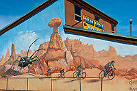 Mural, Poison Spider Bicycle Shop, Moab, Utah USA