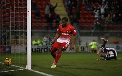 Leyton Orient's Kevin Lisbie scores his sides first goal 1-1 - Photo mandatory by-line: Robin White/JMP - Tel: Mobile: 07966 386802 11/02/2014 - SPORT - FOOTBALL - Leyton - Brisbane Road - Leyton Orient v Bristol City - Sky Bet League One