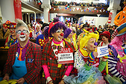 © Licensed to London News Pictures. 02/02/2020. London, UK. Clowns attend a service at All Saints Church in East London in memory of Joseph Grimaldi (1778-1837), an English actor, comedian and dancer, who is widely considered to be the 'Father' of modern clowning. Photo credit: Dinendra Haria/LNP