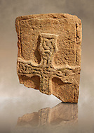 A typical Anglo Saxon grave cover raised cross fragment decporated with raised interlaced patterns from 800-899. Lindisfarne Abbey Museum, Northumbria, England .<br /> <br /> Visit our MEDIEVAL ART PHOTO COLLECTIONS for more   photos  to download or buy as prints https://funkystock.photoshelter.com/gallery-collection/Medieval-Middle-Ages-Art-Artefacts-Antiquities-Pictures-Images-of/C0000YpKXiAHnG2k