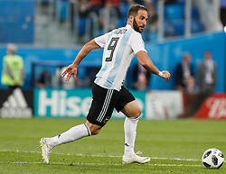 June 26, 2018 - Saint Petersburg, Russia - Gonzalo Higuain of Argentina national team during the 2018 FIFA World Cup Russia group D match between Nigeria and Argentina on June 26, 2018 at Saint Petersburg Stadium in Saint Petersburg, Russia. (Credit Image: © Mike Kireev/NurPhoto via ZUMA Press)
