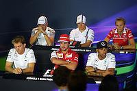 The FIA Press Conference (from back row (L to R): Kevin Magnussen (DEN) McLaren; Valtteri Bottas (FIN) Williams; Max Chilton (GBR) Marussia F1 Team; Nico Rosberg (GER) Mercedes AMG F1; Fernando Alonso (ESP) Ferrari; Lewis Hamilton (GBR) Mercedes AMG F1.<br /> Italian Grand Prix, Thursday 4th September 2014. Monza Italy.