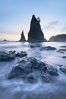Split Rock on Rialto Beach during twilight or blue hour, Olympic National Park.