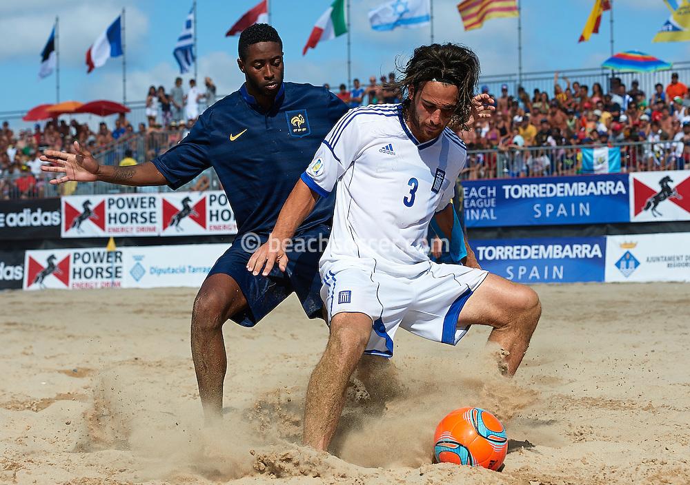 TORREDEMBARRA, SPAIN - AUGUST 11 :  Euro Beach Soccer League Superfinal 2013 at Torredembarra Beach on August 11, 2013 in Torredembarra, Spain. (Photo by Manuel Queimadelos)