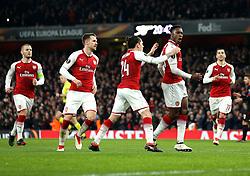 Danny Welbeck of Arsenal celebrates scoring a goal to make it 1-1 - Mandatory by-line: Robbie Stephenson/JMP - 15/03/2018 - FOOTBALL - Emirates Stadium - London, England - Arsenal v AC Milan - UEFA Europa League Round of 16, Second leg