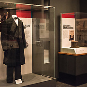 An office coat used by President Abraham Lincoln on display at an exhibit titled Changing America: The Emancipation Proclamation, 1863, and the March on Washington, 1963, at the Smithsonian Institution's National Museum of American History on the National Mall in Washington DC.