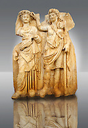 Photo of Roman releif sculpture of Aphrodite is crowned by Andreia from Aphrodisias, Turkey, Images of Roman art bas releifs. Buy as stock or photo art prints.  The drapped goddess figure is thought to be Aphrodite, whilst the female bare breasted warrior in amazonian dress is Roma or Andreia [ Bravery ].