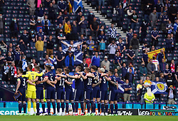 Scotland players line up ahead of the UEFA Euro 2020 Group D match at Hampden Park, Glasgow. Picture date: Monday June 14, 2021.