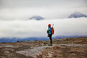 Nature researcher studies the wildlife on Spitsbergen, Svalbard, Norway