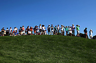 Jun 29, 2018; Potomac, MD, USA; Fans watch from the 16th tee during the second round of The National golf tournament at TPC Potomac at Avenel Farm. Mandatory Credit: Peter Casey-USA TODAY Sports
