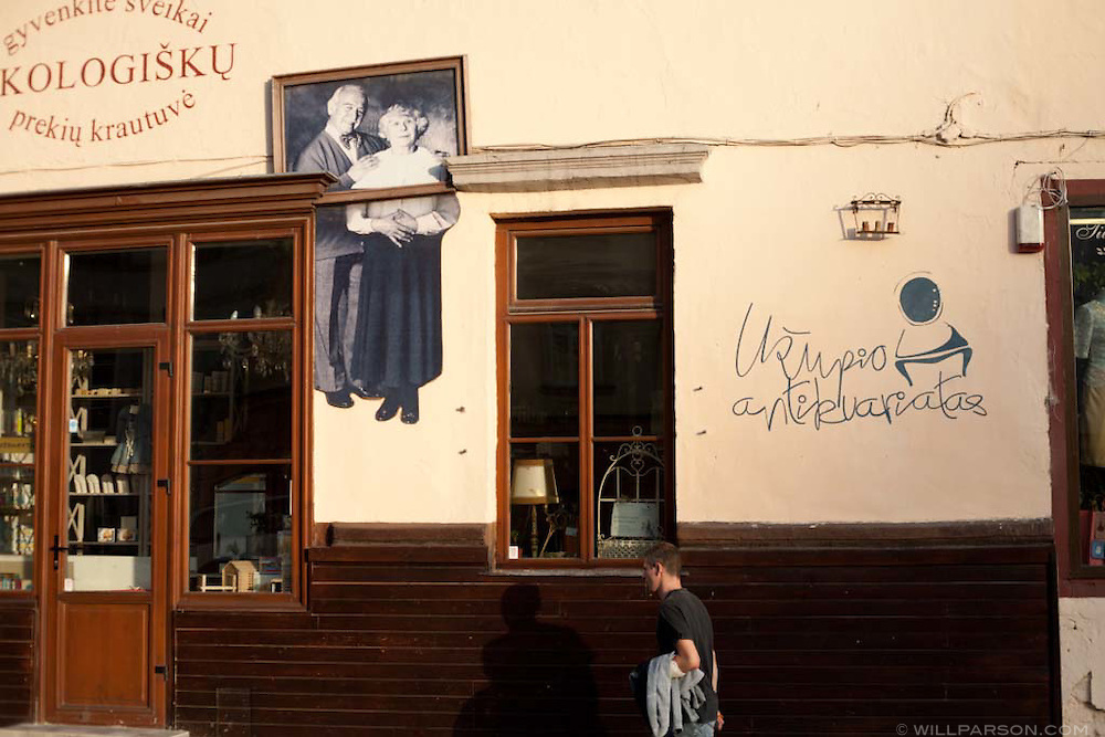 The Republic of U?upis is a neighborhood in Vilnius, Lithuania dominated by artists and their work.