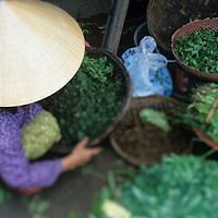 Asia, Vietnam, Hoi An, Woman selling fresh green produce in Central Market along Thu Bon River