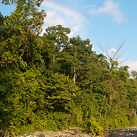 A rainbow over the jungle in Corcovado National Park, Costa Rica.  The park is one of the wildest and most remote places in the Americas.