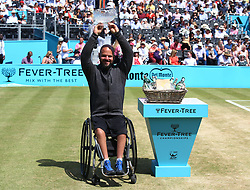 June 24, 2018 - London, England, United Kingdom - Men's wheelchair presentation with winner Stefan Olsson of Sweden during Day 7 of the Fever-Tree Championships at Queens Club on June 24, 2018 in London, United Kingdom  (Credit Image: © Kieran Galvin/NurPhoto via ZUMA Press)