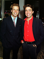 Left to right, MR JOEL CADBURY and MR NICK POWELL, son of Sir Charles Powell, at a party in London on 16th September 1999.MWK 56