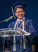 Valdictorian Kevin Villalta comments during the first ever graduation for Mickey Leland College Preparatory Academy, May 27, 2015.
