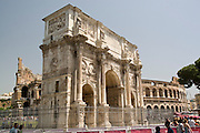 Italy, Rome, Arco di Costantino The Colosseum in the background