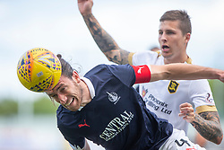 Falkirk's Gregor Buchanan and Livingston Lyndon Dykes. half time : Falkirk 0 v 1 Livingston, BetFred Cup game played 13/7/2019 at The Falkirk Stadium.