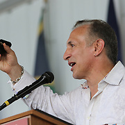 """CANASTOTA, NY - JUNE 14: Ray """"Boom Boom"""" Mancini holds up his ring as he speaks during the induction ceremony at the International Boxing Hall of Fame induction Weekend of Champions events on June 14, 2015 in Canastota, New York. (Photo by Alex Menendez/Getty Images) *** Local Caption *** Ray """"Boom Boom"""" Mancini"""