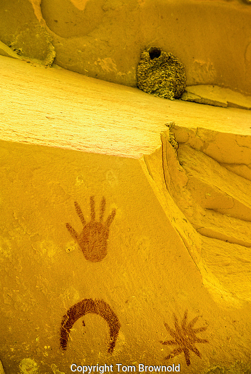 Super Nova explosion pictograph on an overhang in Chaco Canyon.