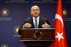 September 27, 2016 - Ankara, Turkey - Sep.27, 2016 - Turkish Foreign Minister Mevlut Cavusoglu speaks at Press conference in Ankara. (Credit Image: © Tumay Berkin via ZUMA Wire)