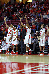 26 November 2016:  Players Phil Fayne(10), Andre Washington(15), Deontae Hawkins(23), and Matt Hein(5) celebrate on the bench during an NCAA  mens basketball game between the IUPUI Jaguars the Illinois State Redbirds in a non-conference game at Redbird Arena, Normal IL