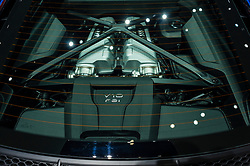 NEW YORK, USA - MARCH 23, 2016: Audi R8 engine bay on display during the New York International Auto Show at the Jacob Javits Center.