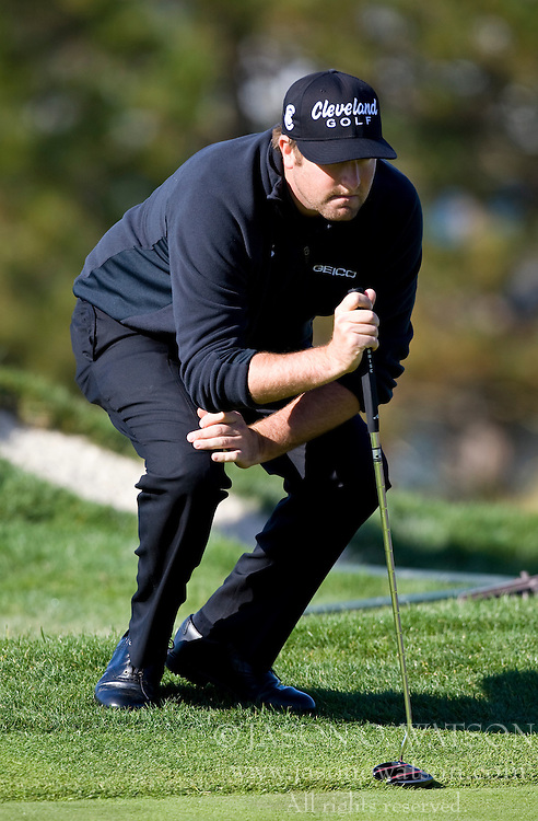 February 14, 2010; Pebble Beach, CA, USA;  Steve Marino reads a putt on the fifth hole during the final round of the AT&T Pebble Beach Pro-Am at Pebble Beach Golf Links.