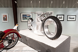 Tim McNamer's Legacy Series custom electric motorcycle on display in the Heavy Mettle - Motorcycles and Art with Moxie exhibition at the Sturgis Buffalo Chip. This is the 2020 iteration of the annual Motorcycles as Art series curated and produced by Michael Lichter. Sturgis, SD, USA. Thursday, August 6, 2020. Photography ©2020 Michael Lichter.