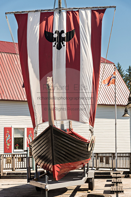 The Sons of Norway Hall Viking ship Vallhalla in Bojer Wikan Fishermens Memorial Park in Petersburg, Mitkof Island, Alaska. Petersburg settled by Norwegian immigrant Peter Buschmann is known as Little Norway due to the high percentage of people of Scandinavian origin.