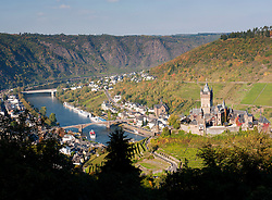 View of Cochem Castle above town of Cochem on Mosel River in Germany
